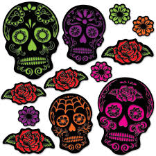 12ct Beistle Day The Dead Sugar Skull Cutouts Bulk Party