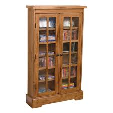 cd cabinet with doors rustic oak cd cabinet with rainfall glass doors by sunny designs