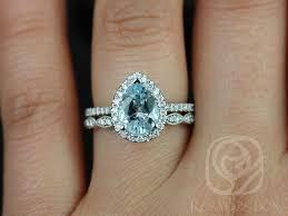 wedding set rings rosados box 9x7mm christie white gold pear aquamarine