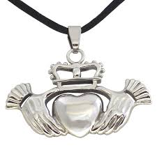 steel heart necklace images Celtic claddagh necklace stainless steel pendant jpg