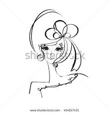 sketch drawing woman face beauty makeup stock vector 455649055