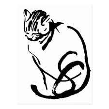 siamese cat drawing postcards zazzle