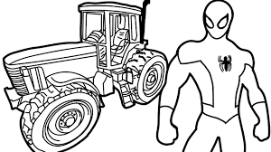 spiderman and tractor coloring book coloring pages kids fun art