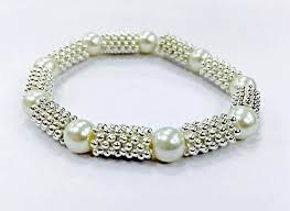 beads bracelet kit images Pearl and silver stretchy bead bracelet kit easy make jewellery jpg
