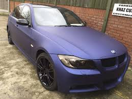 matte bmw bmw e90 matte blue wrap khaz customs