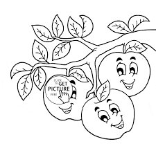 funny apples on branch coloring page for kids fruits coloring