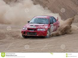 cars mitsubishi lancer red rally car mitsubishi lancer editorial stock image image