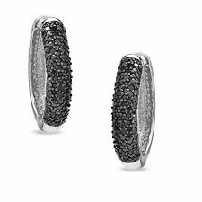 black diamond hoop earrings 1 ct t w enhanced black diamond hoop earrings in sterling silver