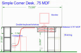 Wooden Corner Desk Plans by Woodware Simple Corner Computer Desk 0 75
