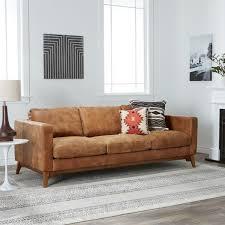 Narrow Leather Sofa Enchanting Light Brown Leather Sofa Fantastic Inside