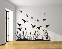 Hunting Decor For Living Room by Landing Mallard Wall Decal With Reeds Cattails Mallard Ducks