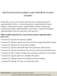 Superintendent Construction Resume Top 8 Construction Project Superintendent Resume Samples 1 638 Jpg Cb U003d1438222685