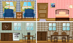 Livingroom Cartoon Four Rooms In The House Royalty Free Cliparts Vectors And Stock