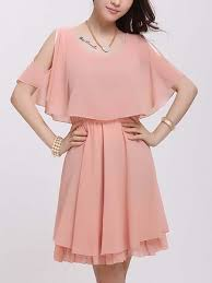 pink fit flare above knee plus size dress for casual