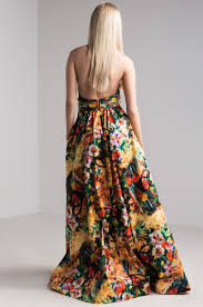 what is a maxi dress halter neck backless floral painted maxi dress in yellow