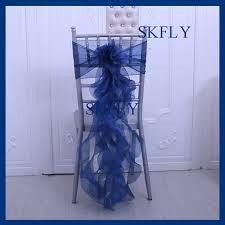 curly willow chair sash ch098x beautiful wedding party organza frilly navy blue curly