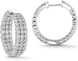 gold diamond hoop earrings 14k white gold 3 00ct row diamond hoop earrings 150 02448