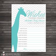 wishes for baby cards chevron giraffe baby shower wishes for baby advice printable card