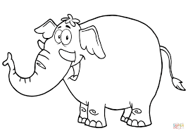 happy cartoon elephant coloring free printable coloring pages