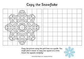 grid copy snowflake christmas drawing kids
