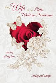 anniversary greeting cards ruby 40th wedding anniversary greeting card