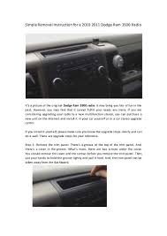 simple removal instruction for a 2010 2011 dodge ram 3500 radio