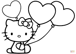 hello kitty with heart balloons coloring page free printable