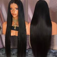 long black hair with part in the middle ultra long middle part straight synthetic wig in natural black