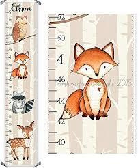 Raccoon Nursery Decor Woodland Fox Raccoon Owl And Deer Canvas Boys Growth Chart