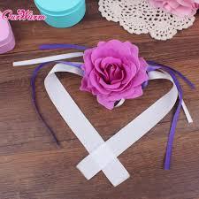 Curtain Band 6pcs Lot Wrist Flower Rose Silk Ribbon Bride Corsage Hand