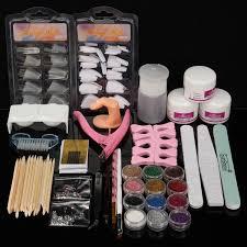 acrylic powder glitter nail art tools kit nails brush false finger