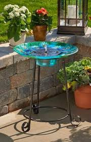 Outdoor Solar Table L Add This Verdigris Planter Birdbath With Solar Light To Your Patio