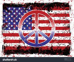 Flag Ir Illustration American Flag Peace Sign Grunge Stock Illustration