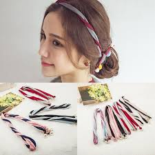wire headband korean version fabric pearl twine colorant match twisted hair band