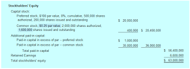 equity stock types statement of stockholders equity