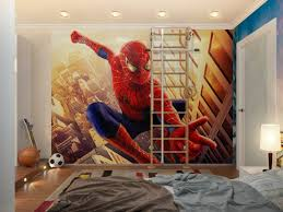 excellent cool bedroom ideas for guys with superhero wall paper