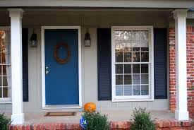 blue house white trim front door exterior interactive image of front porch decoration using dark