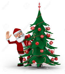 picture of santa claus with christmas tree christmas lights