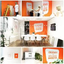 Orange Office Interior Design Overview Studios Vinyl Wall - Wall graphic designs