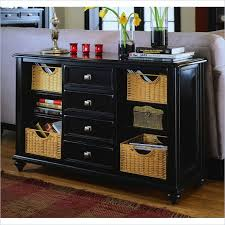 black console table with storage american drew camden black console table with baskets 919 925