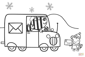 peppa waits for zuzu and zaza to send a xmas card coloring page