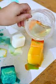 painting with ice chalk and oil learn play imagine