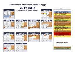 2018 Calendar Islamic American International School Of West Cus School Calendar