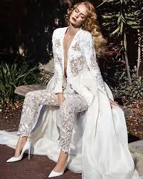 wedding jumpsuit discount sleeves lace jumpsuit wedding dresses 2017 two in