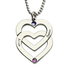 Personalized Heart Necklace Birthstones Double Heart Necklace Silver Personalized Couples Name