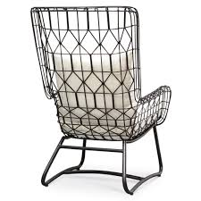 Outdoor Modern Chair Chloe Modern Classic Salt Black Steel Outdoor Wing Chair Kathy