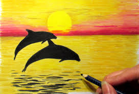 landscape in colored pencil sunset and 2 dolphins drawing