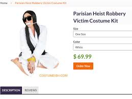 kim kardashian halloween costume inspired by robbery branded