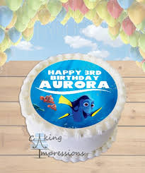 finding dory edible image round cake topper