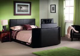 julian bowen double or king size optika tv bed brown faux leather
